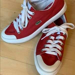 Lacoste red tennis shoe. Ladies 7.5